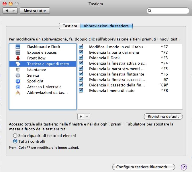 Abbreviazioni da tastiera Mac