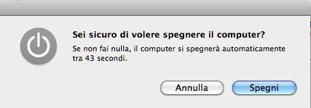 Finestra di dialogo di spegnimento di un Mac